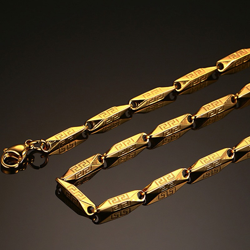 Punk Gold-color 316L Stainless Steel Greek Key Pattern Necklace Chain Length 22 Inches