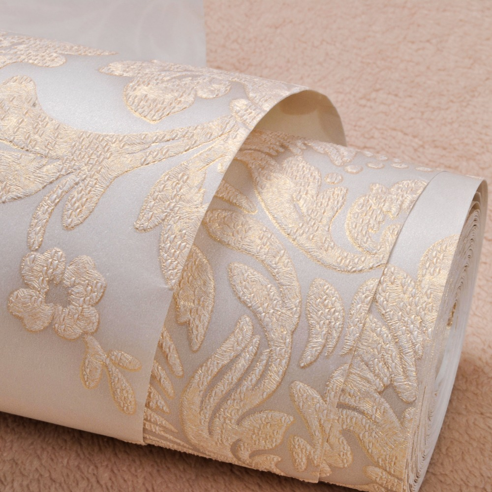 Relief metallic gold texture damask wallpaper for Wallpaper roll for walls