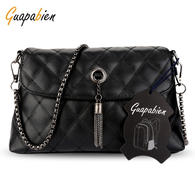 512723f3ea Guapabien Rhombus Tassel Stylish Bags Chain Strap Women Shoulder Bag  Geometric Black Color PU Zipper Crossbody Bags