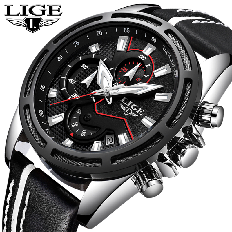 LIGE Fashion Casual Mens Watches Top Brand Luxury Sport Quartz Watch Men Leather Waterproof Military Watches Relogio Masculino casual mens watches top brand luxury men s quartz watch waterproof sport military watches men leather relogio masculino benyar