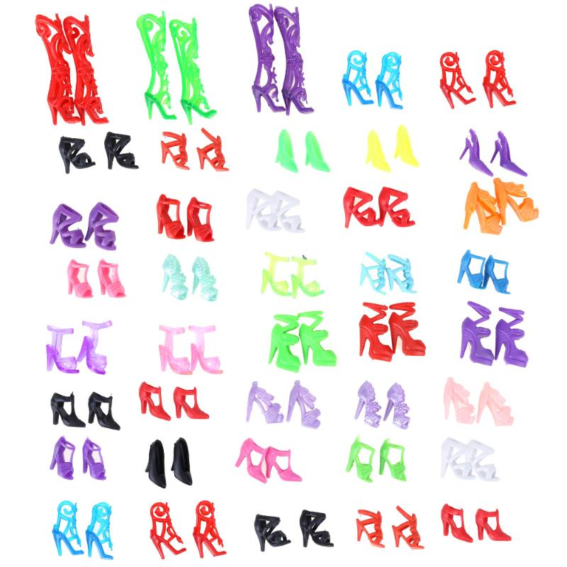 40 Pairs Doll Shoes Fashion Cute Colorful Assorted Shoes for Barbie Dolls Accessories Girls Birthday Toys Gift 1set fashion doll shoes cute colorful assorted shoes high heel sandals for barbie doll outfits dress accessories girls gift