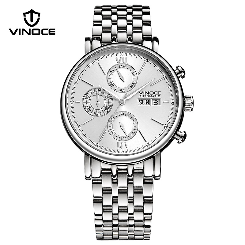 VINOCE Multifunction Dial Mechanical Watches Men 2018 Luxury Brand Stainless Steel Wristwatches Business Men Clock Reloj Hombre все цены