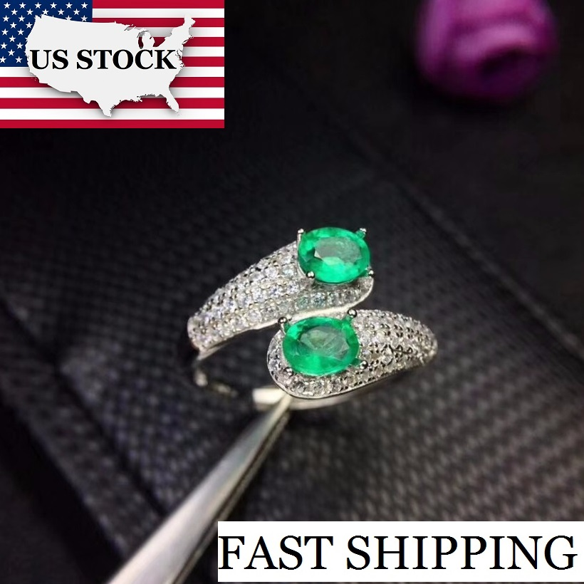 US STOCK Uloveido Green Emerald Ring Silver 925 Ring 4 5mm 2 pcs Certified Gemstone Wedding
