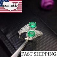 US STOCK Uloveido Green Emerald Ring, Silver 925 Ring, 4*5mm*2 pcs Certified Gemstone Wedding Fine Jewelry for Women FJ225