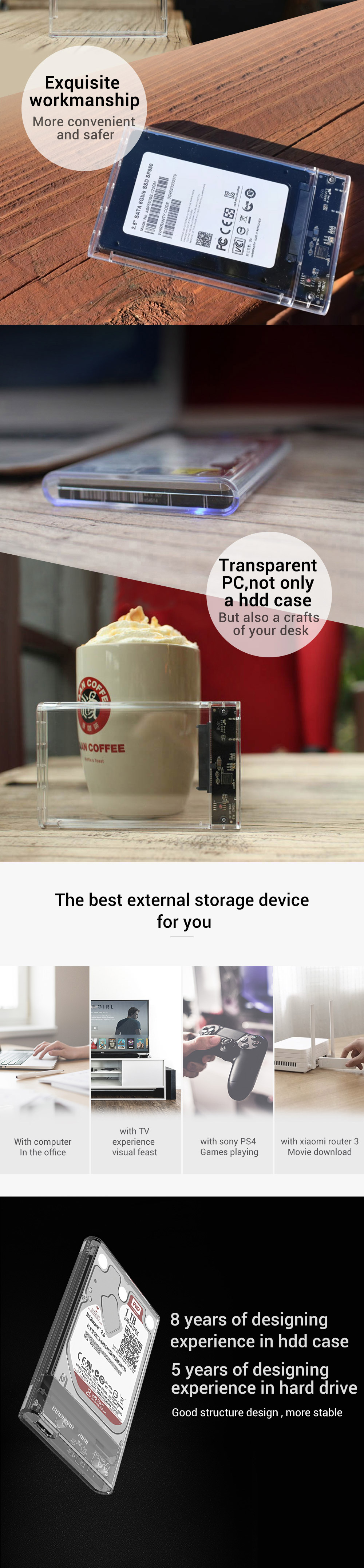 Läbipaistev USB 3.0 kõvaketta ümbris