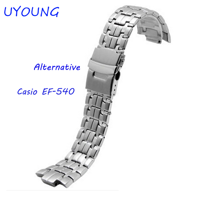 UYOUNG Watchband For Casio EF-540 Solid stainless steel Watch bands Bracelet Watch accessories Silver Strap uyoung watchband for casio prg 130y prw 1500yj watch bands black silicone rubber strap climbing bracelet