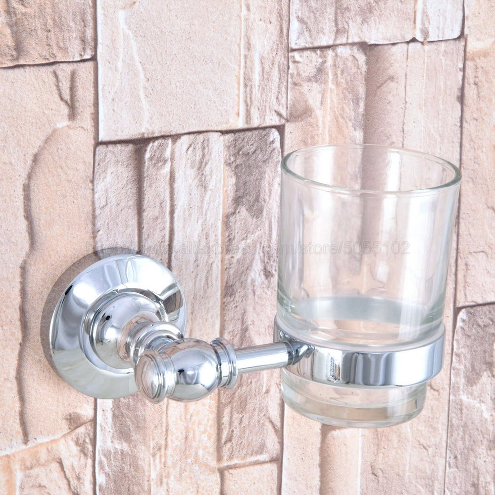Cup & Tumbler Holders Wall Mounted Toothbrush Cup Holder Polished Chrome Bathroom Accessories Wall Decoration zba790 image