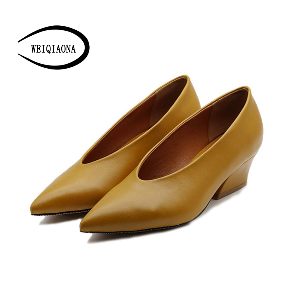 WEIQIAONA new brand design Mid Heel Women Pumps Elegant Pointed Toe Shallow Fashion Office Ladies Mules Shoes Party shoes kjstyrka 2018 brand designer women mules pointed toe ladies shoes med heel sandals black red lattice fashion girls shoes