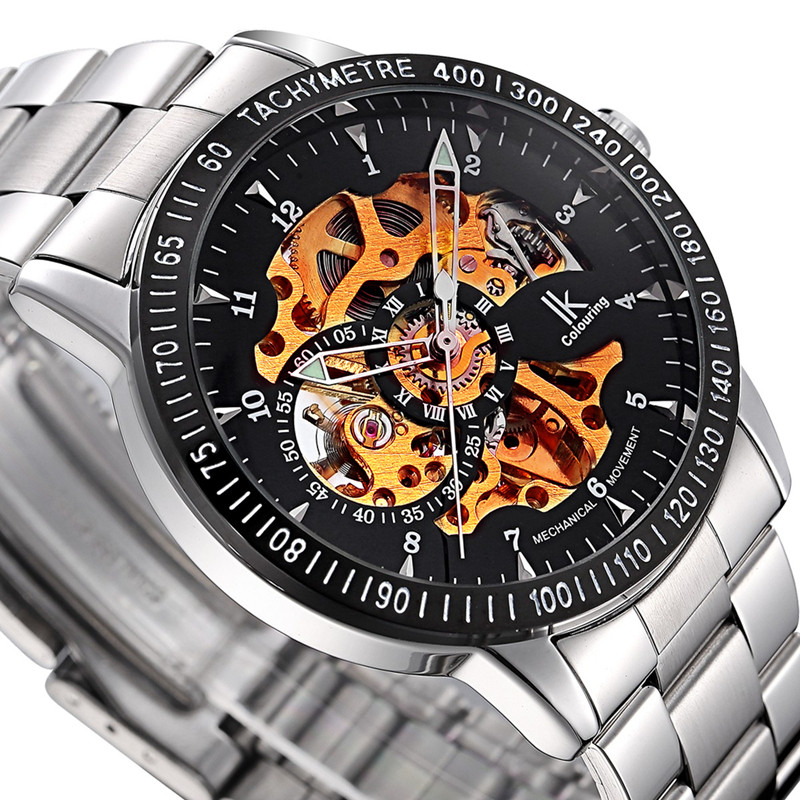 Muhsein fully-automatic mechanical watch male trend stainless steel mens watch cutout waterproof luminous large dial watch аксессуары для детей