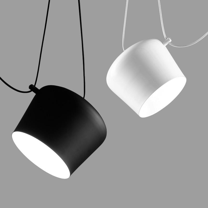 Fashion Nordic Tabour Pendant Light Aluminum E27 110V - 220V for decor Hanging Light Fixture DIY Luminaire White/Black LampShadeFashion Nordic Tabour Pendant Light Aluminum E27 110V - 220V for decor Hanging Light Fixture DIY Luminaire White/Black LampShade