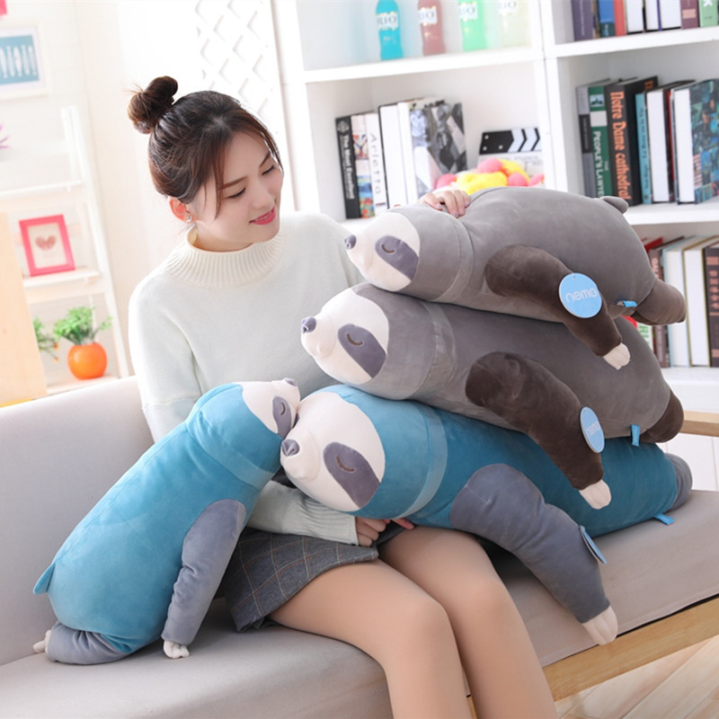 1pc 65-100cm New Cute Stuffed Sloth Toy Plush Soft Simulation Sloths Soft Toy Animals Plushie Doll Pillow For Kids Birthday Gift