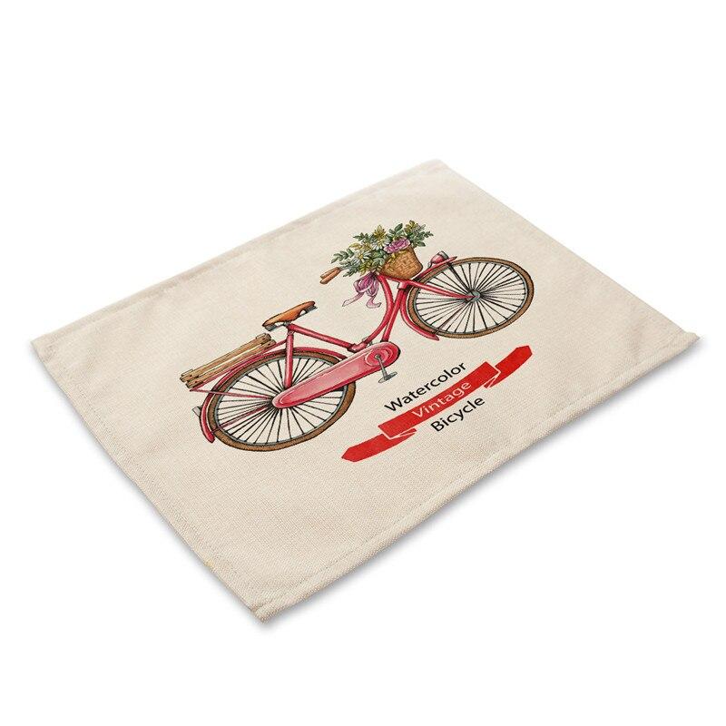 42x32cm Kitchen Dinner Table Mats Cotton Linen Table Napkin Cartoon Fruit Bike Pattern Decorative Placemat Cup Wine Pad