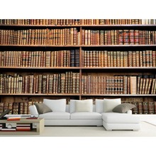 Теплые 3d обои фрески книжный шкаф Книги helf установка настенные фрески Книги украшения дома горячей стильный для Гостиная#206