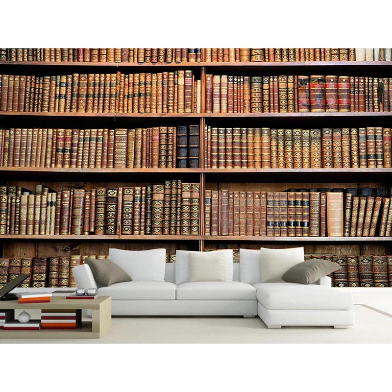 Warm 3d wallpaper murals bookcase bookshelf setting wall for Bookshelf mural wallpaper