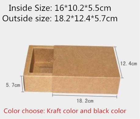 20pcs/lot-16*10.2*5.5cm Black Kraft Drawer Box Handmade Soap Gift Craft Jewel Macaron Packaging Party Gift Paper Boxes