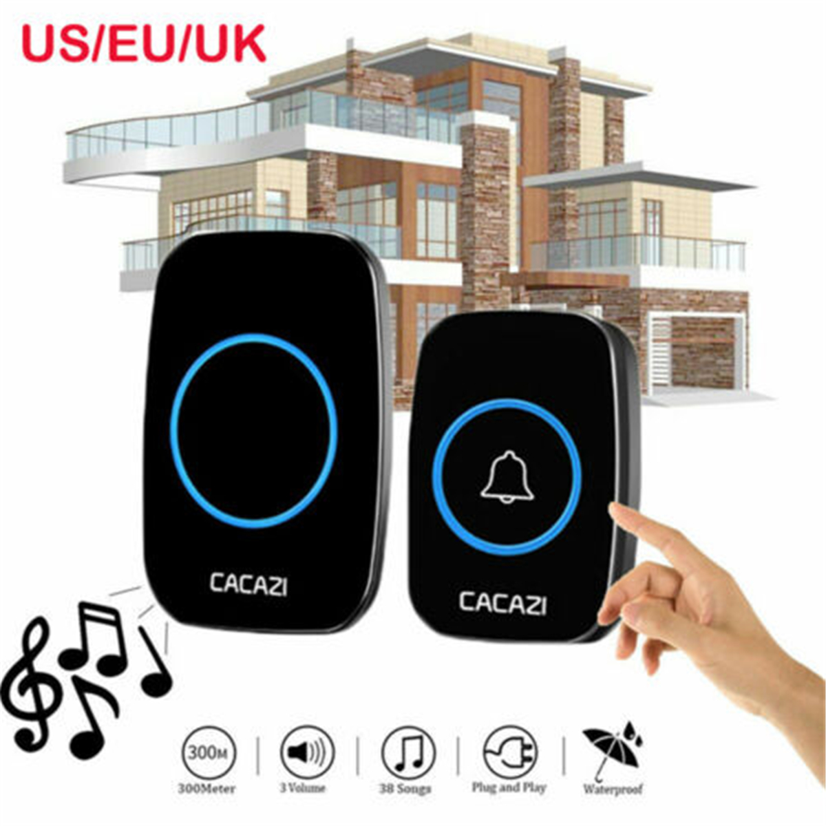Home Wireless Doorbell Smart LED Light Calling Bell 2 Receiver and 1 Transmitter For Home Office Hospital SchoolHome Wireless Doorbell Smart LED Light Calling Bell 2 Receiver and 1 Transmitter For Home Office Hospital School