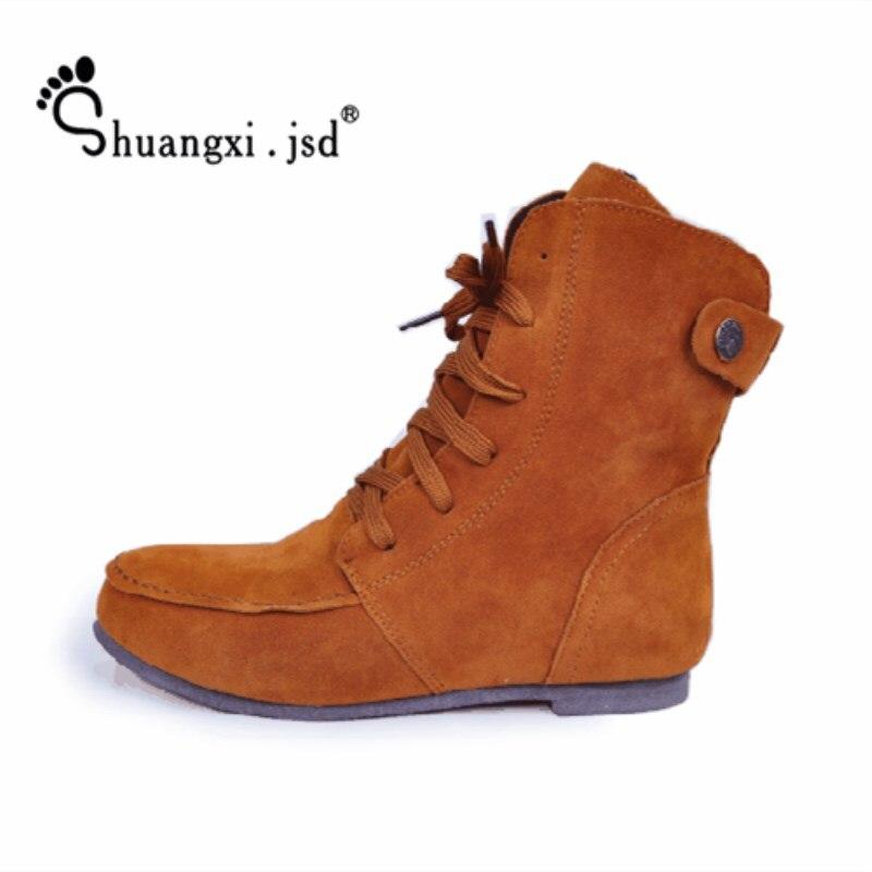 Shuangxi.jsd 2018 Autumn Luxury design women boots Black flat boots plus size high quality woman shoes keep warm bota feminina