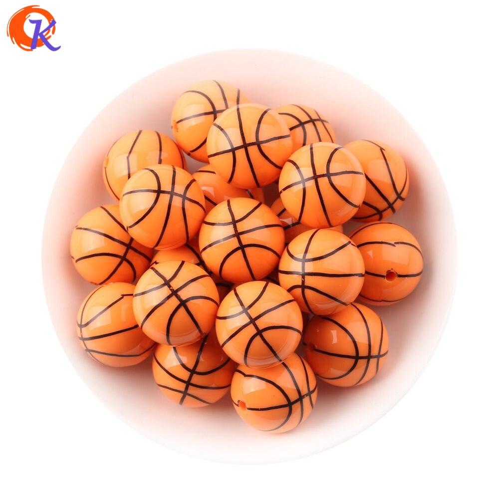 Cordial Дизайн 20mm100pcs/lot печати баскетбольная спортивная на оранжевый акриловые бусины для детей Коренастый ювелирных изделий шариков CDBD-601110 ...