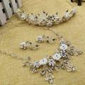 Produtos de vidro de cristal terno Acessórios Do Casamento Conjuntos de Jóias de Liga de Zinco Esterlina Colar Maxi Alta Qualidade Vestido de Casamento Nupcial