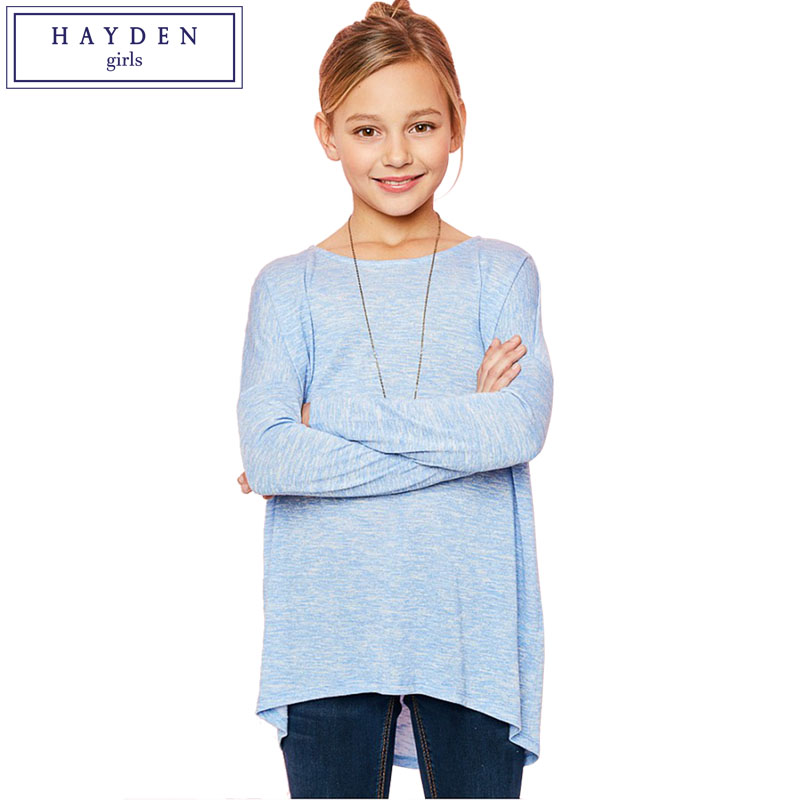 HAYDEN Girls Long Sleeve Top 2017 Designer Brand Tee Shirts Children Clothing Big Teenagers T-Shirts Girls Loose Fit Jersey Tops цена