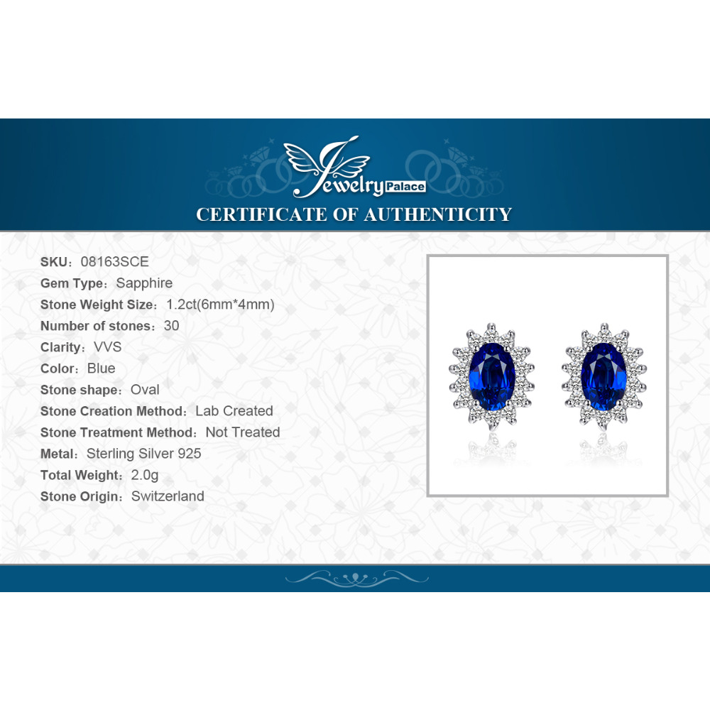 JewelryPalace 1.5ct Oval Blue Sapphire Earrings Stud 925 Sterling - Fijne sieraden - Foto 6