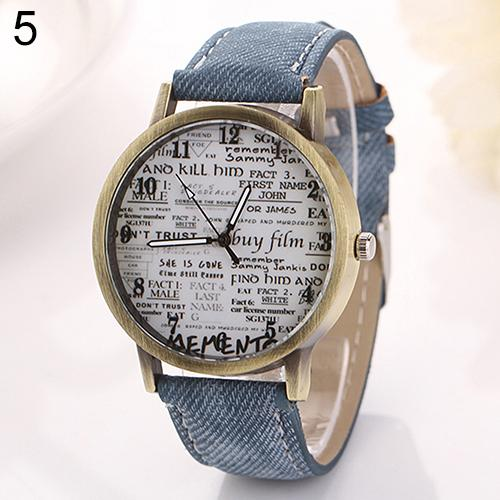 Men Women Watches Fashion Graffiti Retro Canvas Strap Vintage Cowboy Denim Simple Garbled Fabric Quartz Casual Wrist Watch