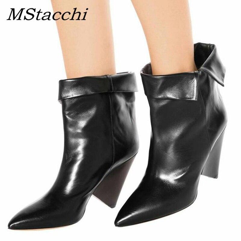 Mstacchi 여성 하이힐 가죽 앵클 부츠 여성용 가을 겨울 부츠 이상한 발 뒤꿈치 부츠 sapato feminino zapatos de mujer-에서앵클 부츠부터 신발 의  그룹 1