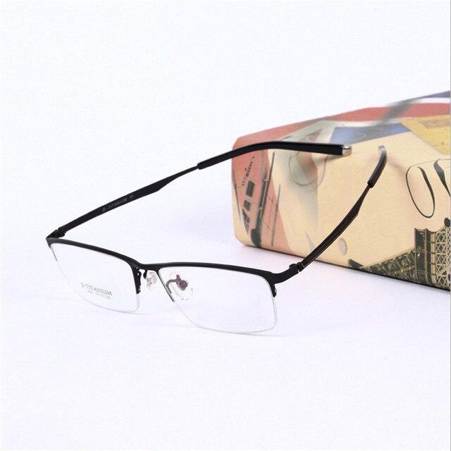 Kotak Besar Mode Mens Bingkai Kacamata Resep Kacamata Pure Titanium Ultra  Ringan Half-Frame Mens d90e62576f