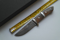 Damascus Straight Knife Tactical Outdoor Knives With Ox Horn Handle Real Leather Sheath Gift Box Package