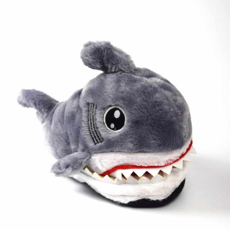 Dropshipping ฤดูหนาว Super สัตว์ตลกสำหรับรองเท้าผู้ชายและผู้หญิงนุ่มด้านล่างชั้นในร่ม Shark Shape Furry รองเท้าแตะ