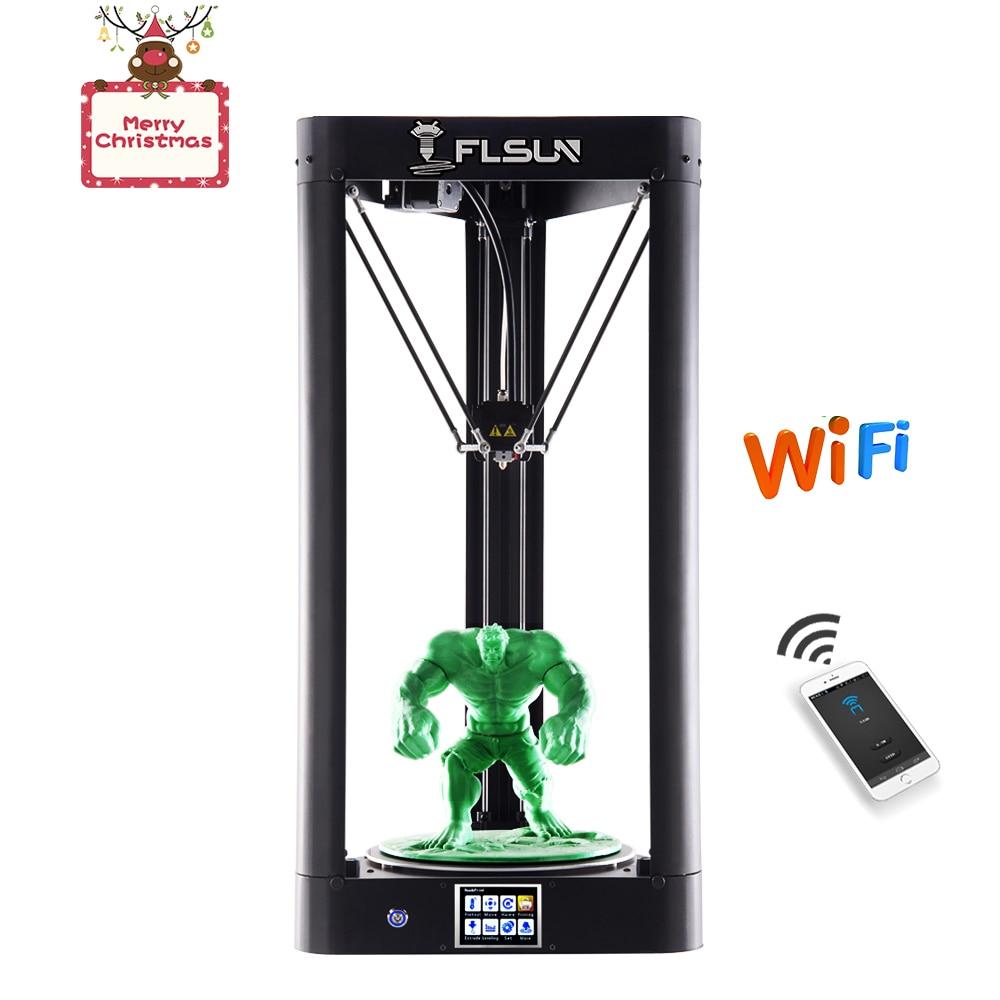 Новейший FLSUN-QQ 3d принтер коссель Стекло предварительная сборка Delta 3D Большой размер авто выравнивание сенсорный экран wifi HeatBed резюме