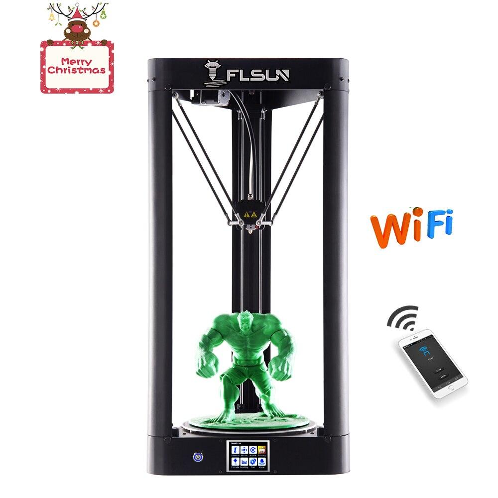 Più nuovo FLSUN-QQ 3D Stampante Kossel Vetro Pre-assemblaggio Delta 3D di Grandi Dimensioni Auto livellamento Dello Schermo di Tocco di WIFI HeatBed Riprendere