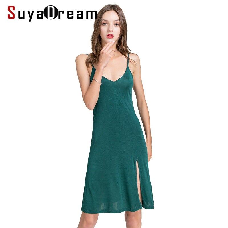 Women Full Slips Real Silk Slips For Women Sexy V Neck Comfortable Slip Dress 2019 Summer New Black White Khaki