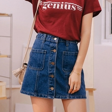 купить Denim Skirt High Waist A-line Mini Skirts Women 2019 Summer New Arrivals Casual Skirts Button Pockets skirts дешево