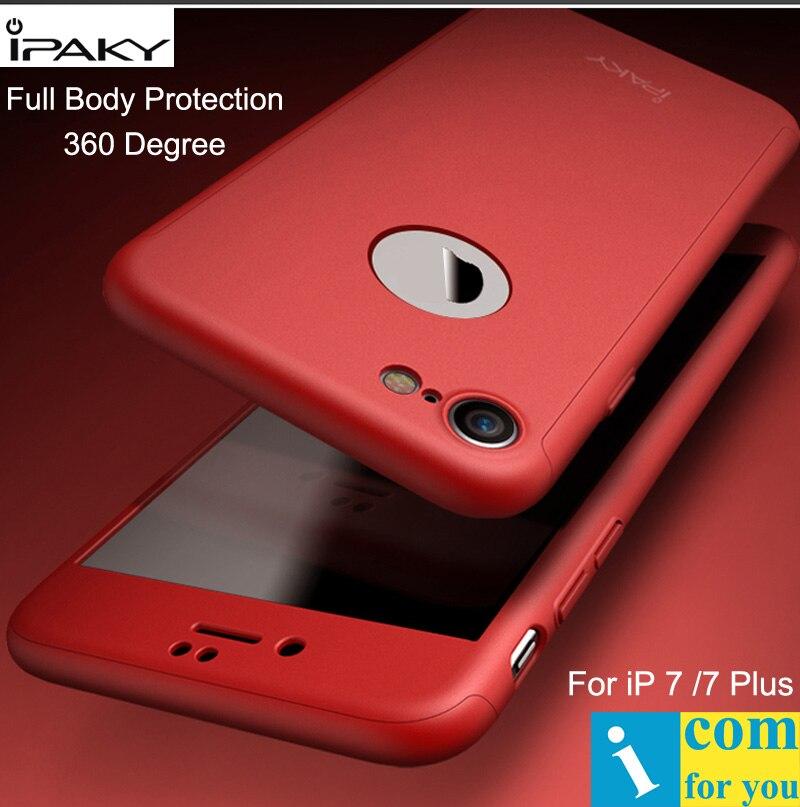 imágenes para Ipaky case cubierta del cuerpo completo para iphone 7 360 grado pc dura protectora shell para iphone 7 plus + templado vidrio