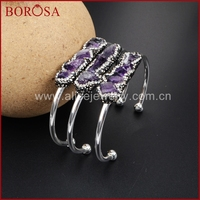 Natural Amethyst Paved CZ Beads Silver Color Bangle Freeform Amethyst Pave Rhinestone Cuff Bangle For Women