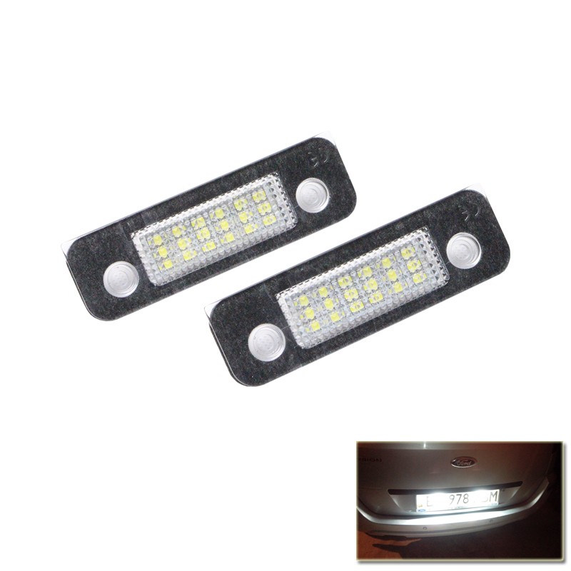 Set Exact Fit White 18 SMD Led Number License Plate Lights font b Lamp b font
