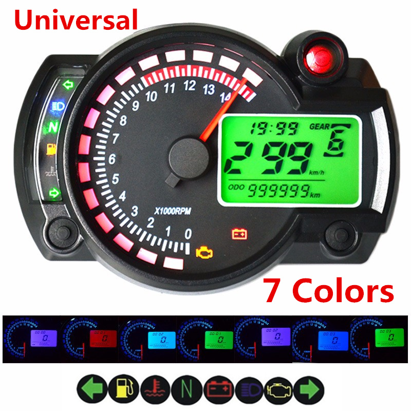 Motorcycle Speedometer Tachometer Motorcycle Tachometer Digital Colorful LCD Speedometer Motorcycle LED Odometer DC 12V Odometer Speedometer Gauge with Indicator