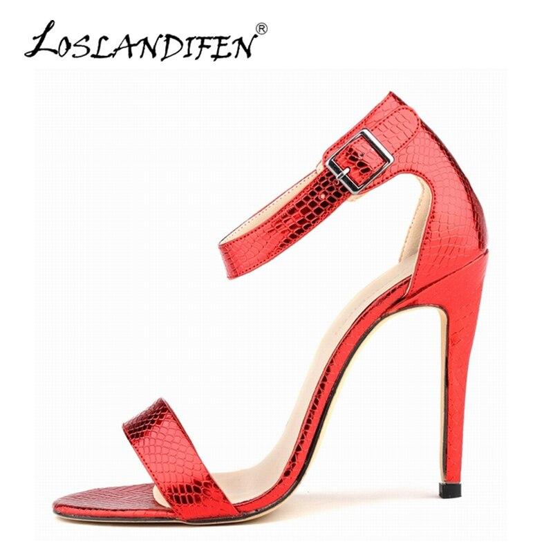 LOSLANDIFEN Mode D été Femmes Pompes Mince Haute Talons Chaussures ... 6920920d31e