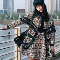 MX Autumn Personality Vintage&Retro Ethnic Long Sleeve Indian Design Print Tassel Slim Novelty Thick Cotton Twinset Dress
