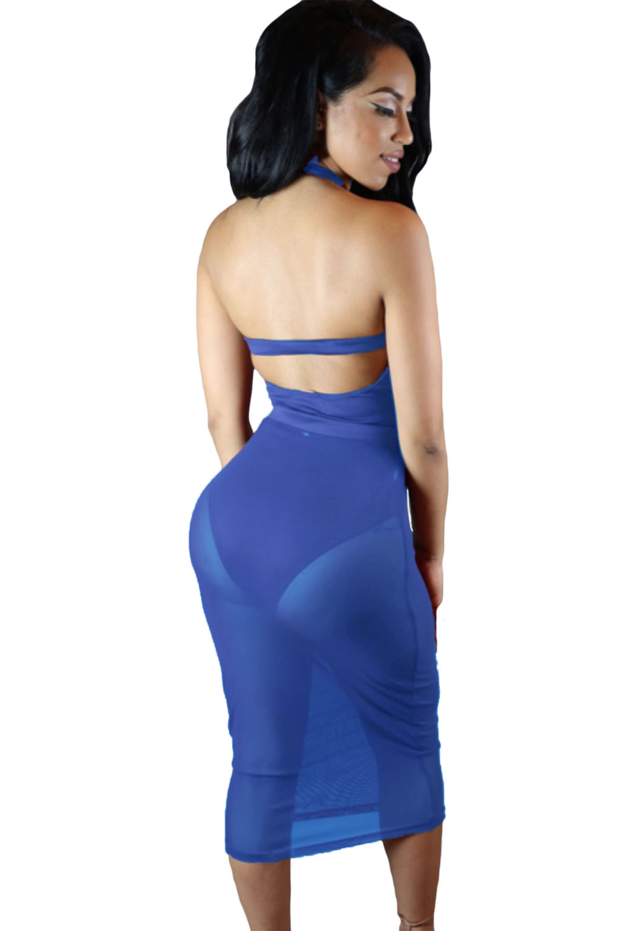 Blue-Caged-Bandage-Bodysuit-with-Sheer-Mesh-Skirt-LC64013-5-2