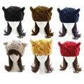 New Arrival 2017 Women Winter Hat Knitted Wool Beanie Bonnet Girls Cute Cat Ear Twist Sweater Beret Hats Thick Warm Beanies Caps