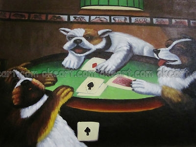 Paisaje Marino Perros Jugando Poker Office Resumen Antecedentes El