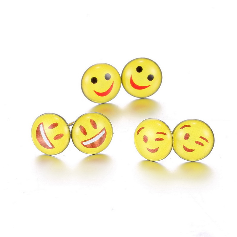 Systematic 12 Pairs/set Round Yellow Happy Face Emoji Earrings Set Cute Funny Earrings Smiley Stud Earrings Christmas Earrings Kits Jewelry Earrings
