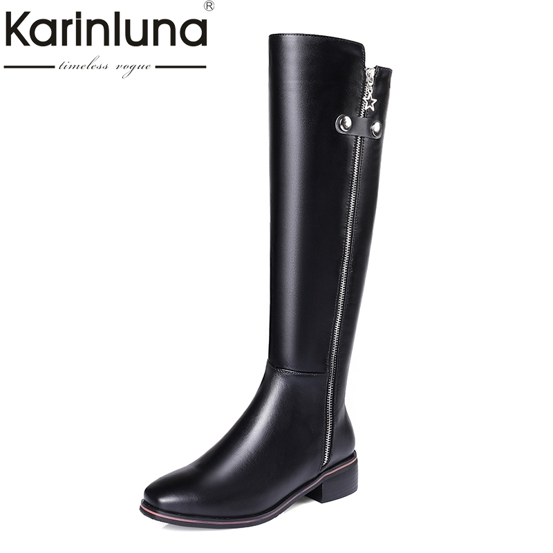 KarinLuna 2017 top quality size 33-41 brand shoes women knee high boots genuine leather square heels riding boots woman shoes