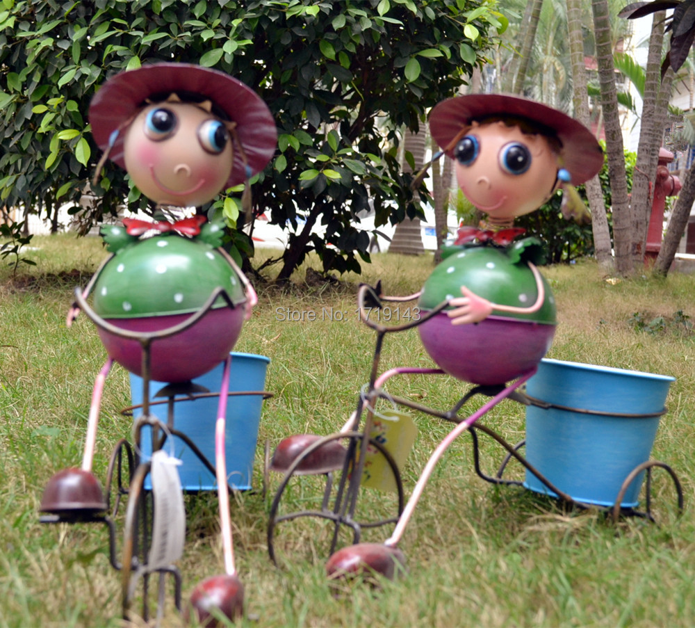 Metal Cartoon Girl Bike Pot Bicycle Plant Stand Holder Iron Art Garden  Ornament Free Shipping In Garden Buildings From Home U0026 Garden On  Aliexpress.com ...