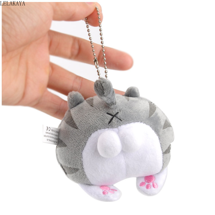 Plush Keychains Soft Stuffed Cartoon Animals Cat Creative Cat Ass Bag Xmas Mini Gray Pendants Kids Lovely Fashion Backpack Doll