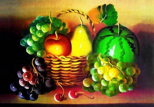 Free shipping new wall decor pictures for Dining room,A basket of Delicious Fruits, Reproduction of  archaic oil painting