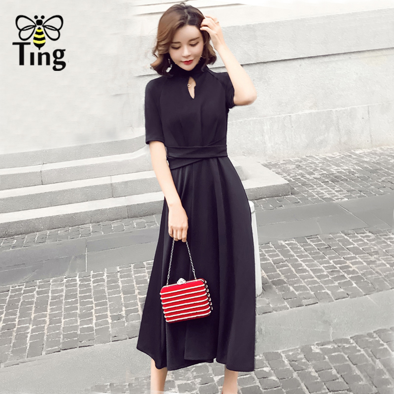 Tingfly Vintage hollow out black midi dress Elegant Women high waist fitness A line dress Party dresses office work vestidos