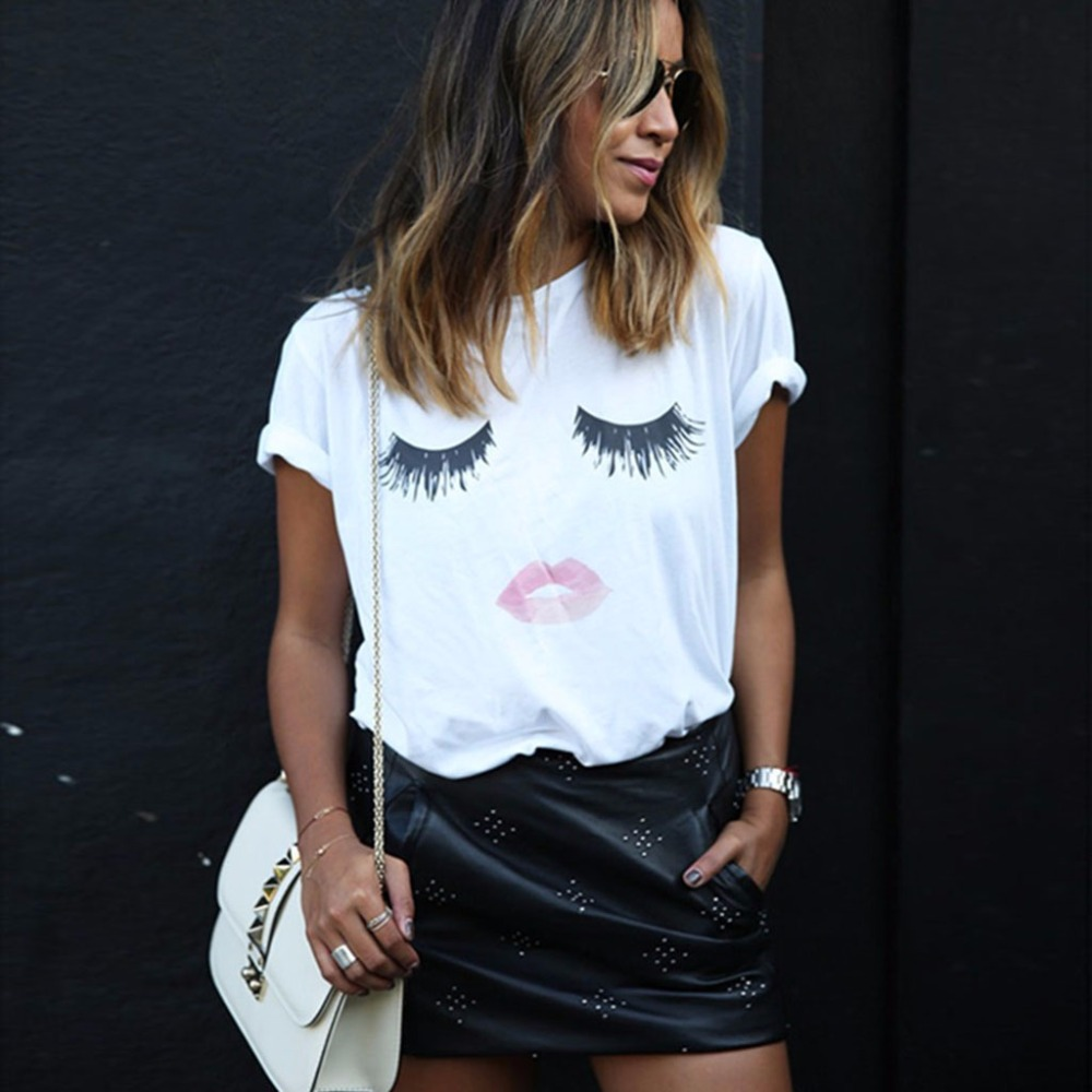 Casual Summer Women Tops Pullover Short Sleeve O-neck Eyelash Red Lips Print White T-shirt New